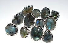 Bulk Price Lot !! 100 PCs. Natural LABRADORITE 925 Sterling Silver Plated Ring