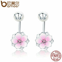 Bamoer Authentic .925 Sterling Silver Stud earrings Pink Magnolia Blossom Dangle