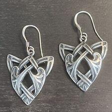 French Hook Pierced Earrings - 6g Vtg Sterling Silver 925 Celtic Knot Dangle