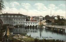 Winchendon MA Bridge Water Bldgs c1910 Postcard