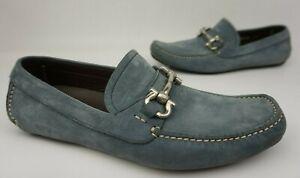 Salvatore Ferragamo Parigi Driving Shoes Grey Suede Bit Loafers Size 7.5 EE 2E