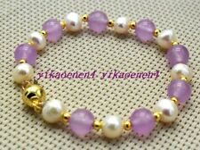 New 8mm Purple Jade&7-8mm White Pearl Blacelets 7.5inch