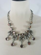 Banana Republic Crystal Bib Necklace Rose Cubic Zirconia  Costume Jewelry New
