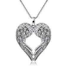 Femmes Argent 925 aile d'ange coeur d'amour collier pendentif Argent Cadeau UP