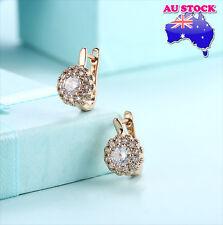 Elegant 18K Gold Filled Huggie Hoop Zircon Crystal Flower Earrings
