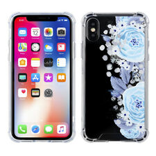 NEW!! Apple iPhone X- Blue Floral Design Back Cover Case!