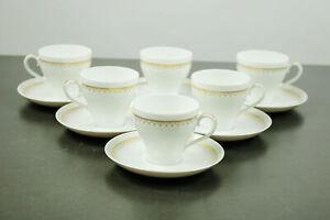 6 Kaffee Tassen Hutschenreuther Poesie Constanze Porzellan Service Gold 1028