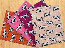Cows Kids Animals 100% Cotton Fabric *Fat Quarter Bundle* 4 Crafts Quilts Sewing