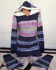Victoria's Secret Fireside Hooded Long Jane Navy Multi Patchwork Pajama - Medium