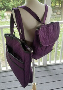 Thirty One Double Take Tote Hostess Bag and Vary You Backpack Plum Quilted Set