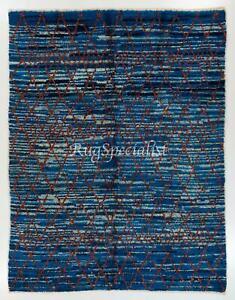 Contemporary Moroccan Azilal Style Berber Rug in Indigo Blue Color