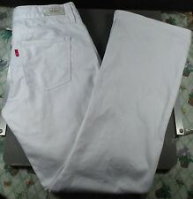 Levi Strauss Mid Rise Boot Cut White Denim Jeans 2 Short Style 553 Sz 30 X 28.5