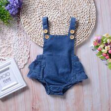 Newborn Baby Girls Denim Princess Dress Romper Bodysuit Jumpsuit Sunsuit Clothes