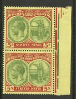 St Kitts & Nevis George V 5s Red & Green Pair Unmounted Mint High Value
