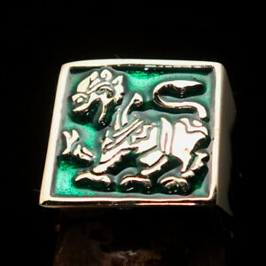 SQUARE SHAPED MENS BRASS BIKER RING SINHALESE LION GREEN SIZE 9
