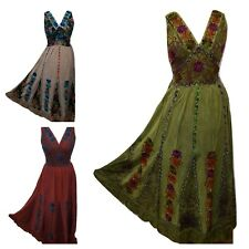 Long Floral Embroidered Patchwork Party Gypsy Printed Inlay Dress 12 14 16