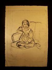 Little Girl on a Sofa 1946-59 Original Ink Sketch by C. Kelm
