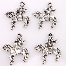 50x Antique Tibet Silver Alloy Wing Horse Pendant Findings Fit Jewelry Making J