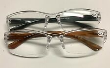 Mens Womens Reading Glasses 2 Pack Clear/Brown/Black +2.25 Strength Plastic