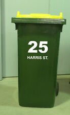 wheelie bin / otto bin number and street name x 4  * hard wearing vinyl 200mm h