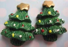 6 Christmas Tree Green Resin Flatbacks Scrapbooking Cabochons Jewelry Craft