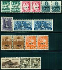 SOUTH WEST AFRICA 135-43 SG114-22 MH 1941-43 KGVI set of 9 (7 pairs+2) Cat$65