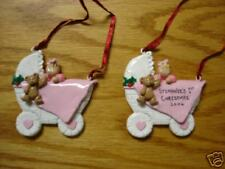 Personalized Pink Baby Buggy Christmas Ornament