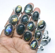 Wholesale Sale !! 20 PCs Lot Natural Labradorite Gemstone Silver Plated Rings