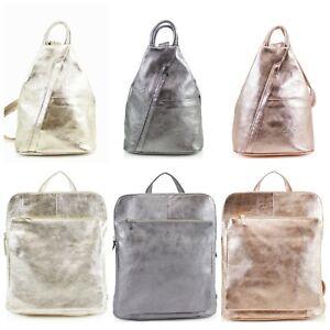 Ladies Metallic VERA PELLE Real Italian Soft Leather Backpack Women's Rucksack