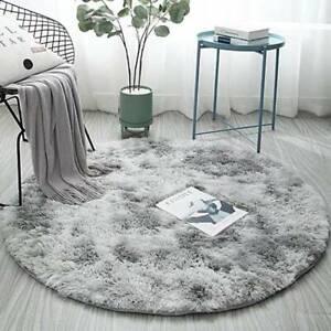 Shaggy Long Flor Shaggy Living Room Rug-Round unifarbe Carpet Mat D7F4