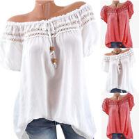 Women Summer Lace Short Sleeve Cotton Cold Off Shoulder Blouse Top T Shirt Hot