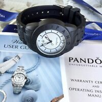 Authentic Pandora White Face Black Silicone Expressions Watch #817901WHBK