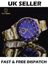 Men's Luxury Southberg Yacht Master Gold & Blue Wrist Watch Designer Smart Watch