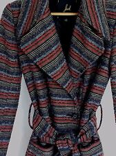 Size Small Jack BB Dakota Trench Coat Boucle Red Black Gray Tan Stripe Tie Waist
