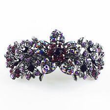 USA BARRETTE Rhinestone Crystal Hairpin Claw Clip Metal Vintage Flower Purple 01