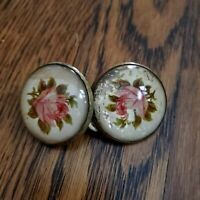 Vintage Bridle Rosette Pair Brass Glass Dome Antique Floral Pink Rose Set of 2