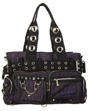 BANNED STRIPED SHOULDER BAG Handcuff Canvas Handbag Gothic Rock Black PURPLE
