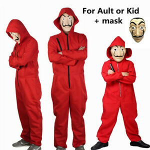Money Heist Carnival Cosplay Costume Jumpsuit and Mask Halloween Party Outfits