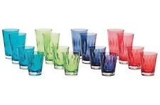 NEW 16 Piece Acrylic Coloured Tumbler Set - BPA Free - Indoor/Outdoor Use