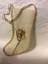 OLD GERMAN MESH CHRISTMAS STOCKING WITH HORSE ORNAMENT