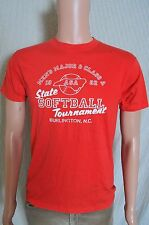 Vintage '80s 1982 Mens ASA state softball tournament Burlington NC red t shirt S