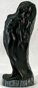 Quality Frank Schirman Artwork Carved Black Coral Nude Lady Nani Hawaiian Statue