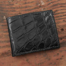 Black Alligator Bifold Wallet - Amish USA Handmade Billfold Cash Wallet