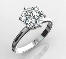 Moissanite Engagement Ring 14K White Gold 1.60Ct Solitaire Real Round Cut White