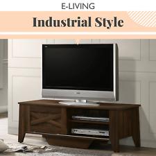 TV Cabinet Stand Entertainment Unit 120cm Industrial Style - Sliding Dark Wood