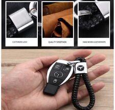 Mercedes Benz Logo Schlüsselanhänger aus Leder in Schwarz