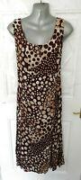 PER UNA Size 16 Long Length Brown Cream Spot Flippy Long Dress Side Zip Tall