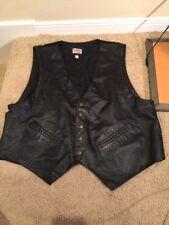 Men's XL Black Leather Vest Western Frontier Snap Front Satin Back Buckle