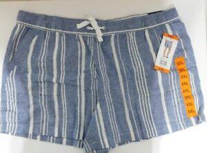 Nautica Linen Blend Shorts Ladies Size 2XL Pull On Blue Stripe NEW
