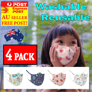 4PCS Kids Boys Girls Face Mask Cover Breathable Reusable Washable Protection AU